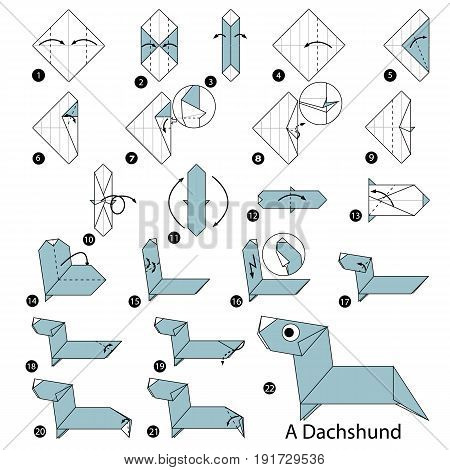 step by step instructions how to make origami A Dachshund