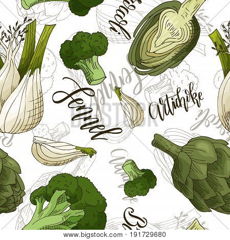 Vector seamless pattern with vegetables. Fennel and artichoke and broccoli background. Hand drawn elements.