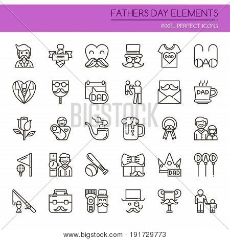 Fathers Day Elements , Thin Line And Pixel Perfect Icons.