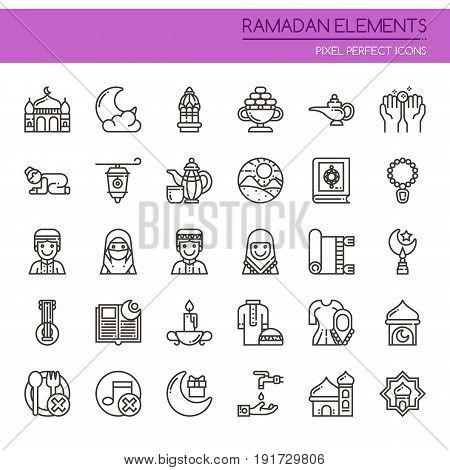 Ramadan Elements Thin Line and Pixel Perfect Icons