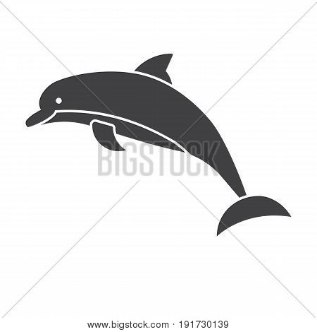 Jumping dolphin vector icon in outline design.