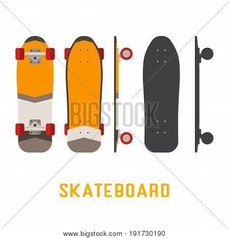 Orange shortboard skateboard bottom, top and side view. Vector skateboarding deck in flat and outline design.