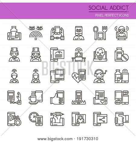 Social Addict Elements Thin Line and Pixel Perfect Icons