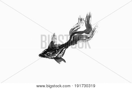 Abstract art painting golden fish life Chinese Brush style painting golden fish in black and white. isolate fish with white background include with path file.