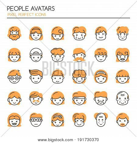 People Avatars Thin Line and Pixel Perfect Icons