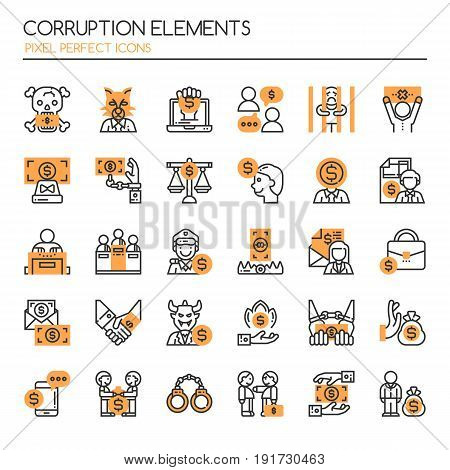 Corruption Elements Thin Line and Pixel Perfect Icons