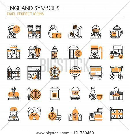 England Symbols Thin Line and Pixel Perfect Icons