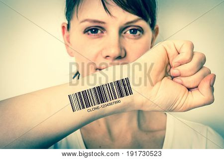 Woman With Barcode On Her Hand - Genetic Clone Concept
