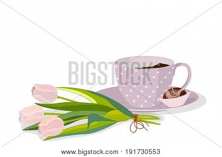 A lilac spotted cup of coffee with cream, chocolate candy on a saucer and bouquet of three pink tulips, isolated on white background, vector illustration