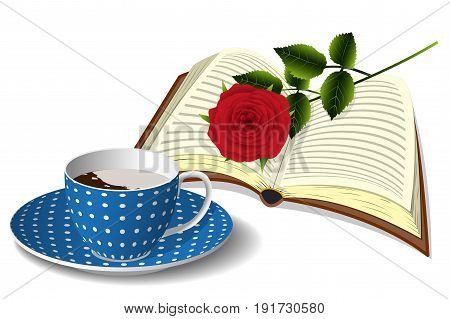 A blue spotted cup of coffee with cream, open book and a red rose, morning still life isolated on white background, vector illustration