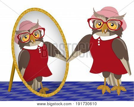 Fashionable owl is trying a dress and hat in front of a mirror, vector illustration