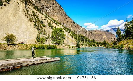 Fishing at the outlet of Seton Lake where the water runs into Cayoosh Creek. Seton Lake is located along Highway 99, the Duffey Lake Road, between Pemberton and Lillooet in southern British Columbia