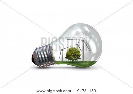 Lightbulb in alternative energy concept - 3d rendering
