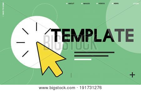 Layout template with mouse pointer icon