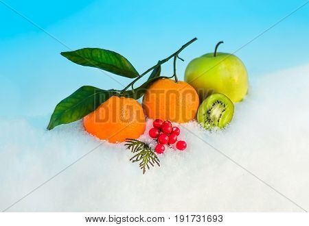 Christmas fruit in snow - orange green apple red berries viburnum kiwi in snow before Christmas in sunny winter afternoon against the blue sky