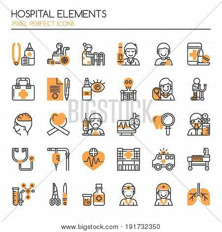 Hospital Elements Thin Line and Pixel Perfect Icons