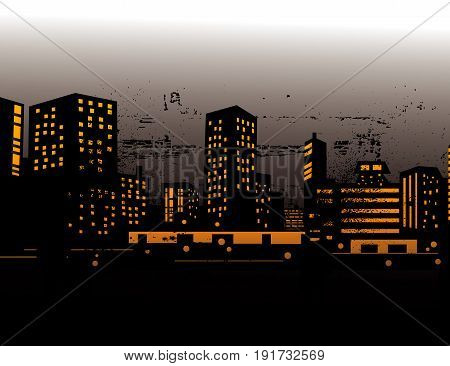 illustration of urban skylines art design city
