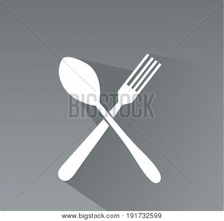 crossed fork and spoon vector icon art
