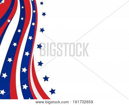 USA flag in style on white background