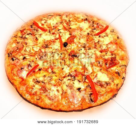 Pizza with tomato salami and olives on white