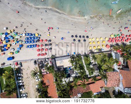 Top view of Boa Viagem beach in Recife, Pernambuco, Brazil