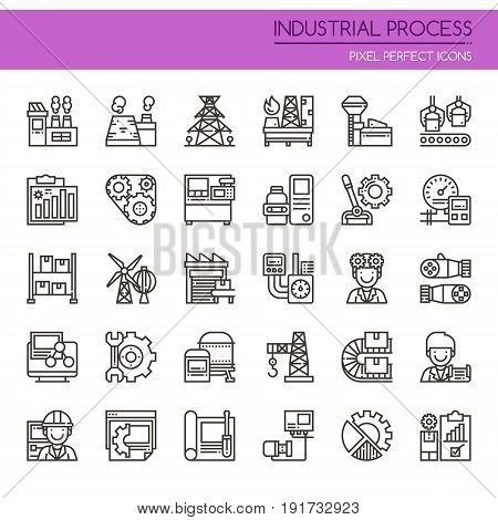 Industrial Process Thin Line and Pixel Perfect Icons