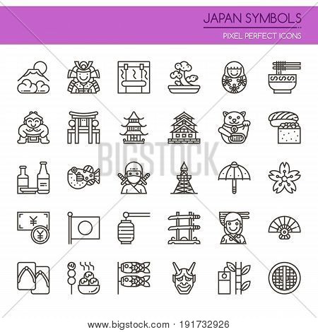 Japan Symbols Thin Line and Pixel Perfect Icons
