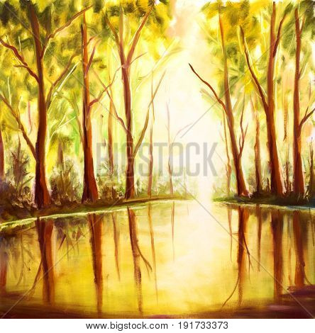 River in forest - Original oil painting on canvas. Beautiful Reflection of trees in water landscape. Modern impressionism art.