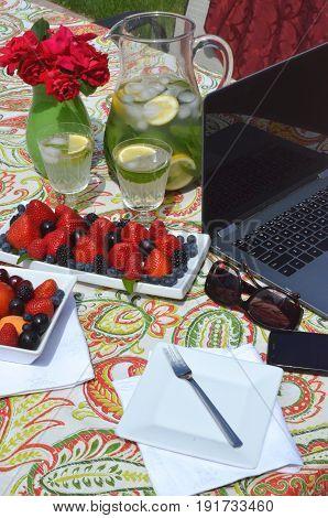 Working from home. Breakfast in the summer garden