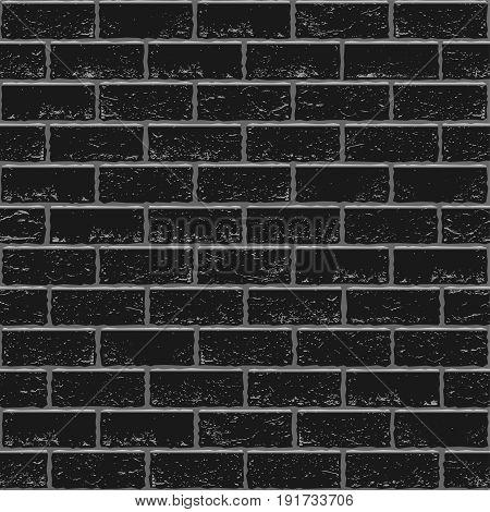 Black old brick seamless background texture. Dark wall light cement seam