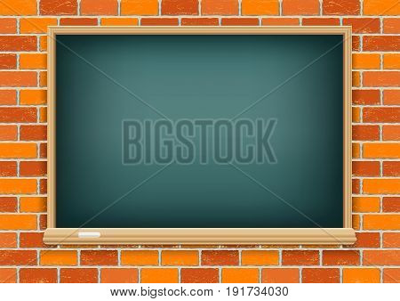 Black empty green blackboard and chalk on old red brick background texture. School education object