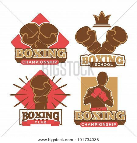 Boxing championship, sport school and private club emblems set with special gloves, boxer silhouette and small crown isolated vector illustrations with big sign underneath on white background.