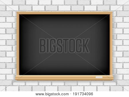 Black empty blackboard and chalk on old white brick background texture. School education object