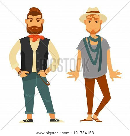 Man with small shawl on neck in beige sweatshirt, black vest, ripped jeans and sneakers. Redhead guy in hat, thin scarf, grey oversize T-shirt, skinny jeans and brown flip-flops vector illustration.