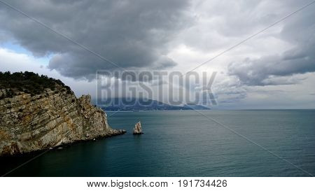 Emerald sea, beautiful rock and panoramic mountain views near the Swallow's nest castle in Russia