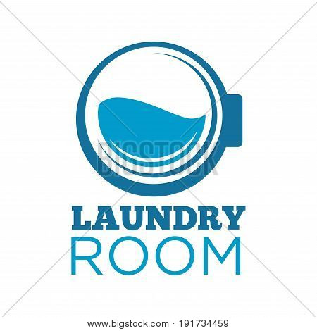 Laundry room logotype with blue washing machine drum half full of water isolated vector illustration on white background. Laundromat minimalistic promotional logotype with thick sign underneath.