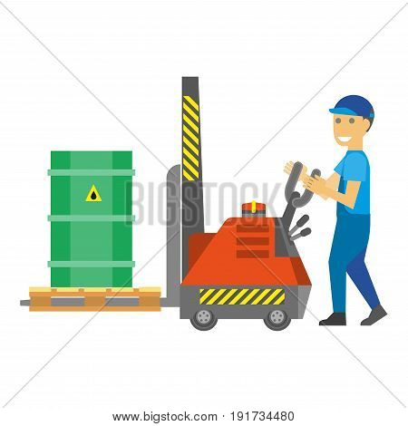 Cartoon male character in blue overalls and cap control loading machine that carries green metal container that has flammable substance inside isolated vector illustration on white background.