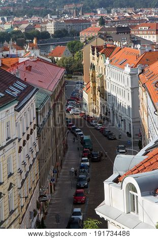 Prague - September 25 2016: street view with historical buildings and cars from above