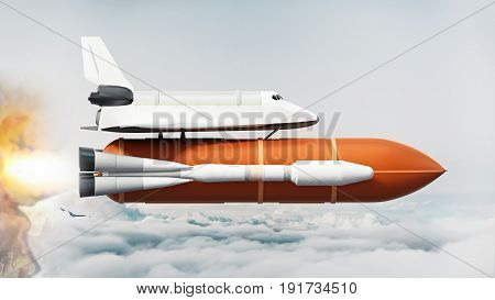 Space shuttle on the rocket moving above the clouds. 3D illustration.