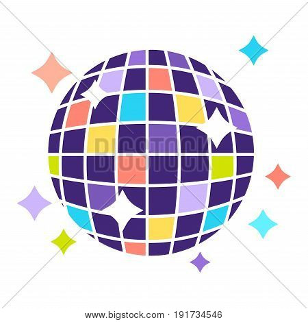 Disco ball that contains of small colorful squares and shines bright and stars around isolated vector illustration on white background. Dancing night decoration that hangs on ceiling and turns round.