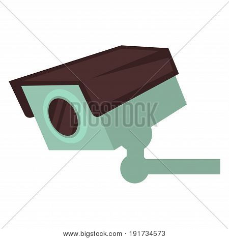 Small video camera with light turquoise and dark brown corpus of rectangular shape that attached to wall isolated vector illustration on white background. Technology for observation and premises security.