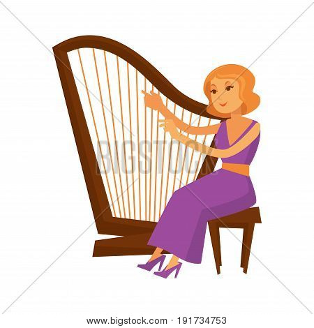 Female musician sitting and playing harp isolated on white. Closeup vector illustration of woman wearing long evening dress and shoes and giving concert on retro vintage wooden instrument