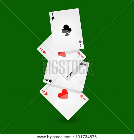 Playing cards line collection of four on green background. Vector poster of small paper objects for poker and other games with numbers and symbols having special meaning. Gaming time template