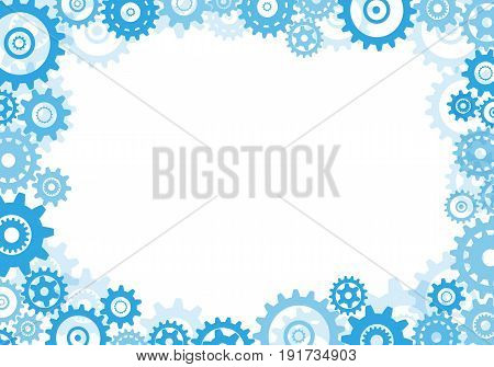 Frame of blue gears on a white background Vector