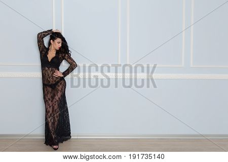 Sexy Young Brunette Woman In Black Lace Dress