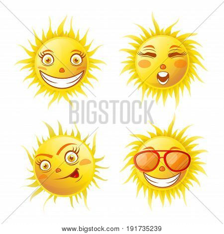 Smiling yellow sun poster of four elements isolated on white. Hot sky object in good mood making various positive faces with and without red sunglasses vector colorful collection in flat design