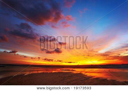 Tropical sunset on the beach. Koh Lanta island. Thailand