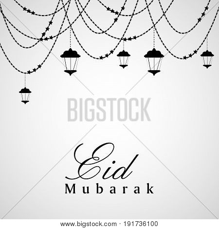 illustration of hanging lamps, decoration with eid mubarak text on occasion of Muslim festival Eid