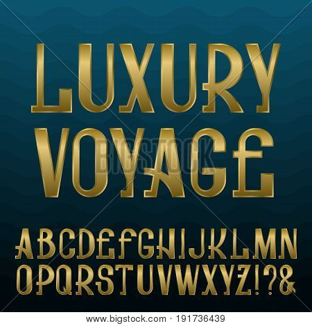 Presentable retro style font. Golden capital letters on blue wavy background. Isolated english alphabet with text Luxury Voyage.
