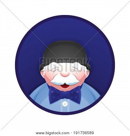 Elderly man with fashion accessories - bowler hat and bow tie. Cheerful senior gentleman on avatar picture. Stylish cartoon character. Vector illustration.